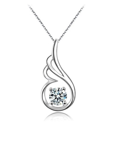Enesstore Gümüş Zarif Tasarım Melek Kanatlı Taşlı Bayan Gümüş Kolye Beyaz